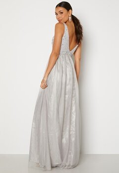 BUBBLEROOM Ivory embellished prom dress Light grey bubbleroom.dk