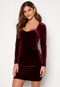 BUBBLEROOM Joan velvet dress Dark wine-red Bubbleroom.dk