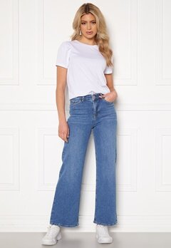 BUBBLEROOM June wide leg stretch jeans Medium blue Bubbleroom.dk