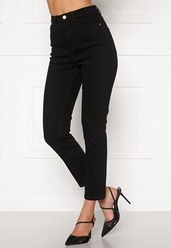 BUBBLEROOM Katy high waist semi stretch jeans Black Bubbleroom.dk