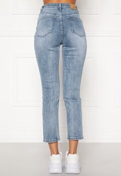 BUBBLEROOM Katy high waist semi stretch jeans Medium blue Bubbleroom.dk
