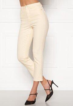 BUBBLEROOM Katy high waist semi stretch jeans Cream Bubbleroom.dk