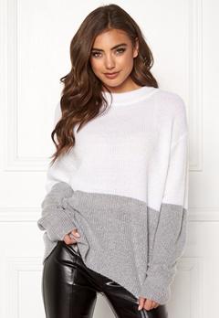 BUBBLEROOM Lindy block knitted sweater Grey melange Bubbleroom.dk