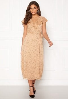 BUBBLEROOM Liw wrap dress Beige / Brown / Dotted Bubbleroom.dk