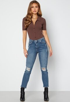 BUBBLEROOM Loreena distressed high waist jeans Medium denim bubbleroom.dk
