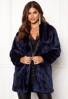 BUBBLEROOM Luxure faux fur coat Dark blue Bubbleroom.dk