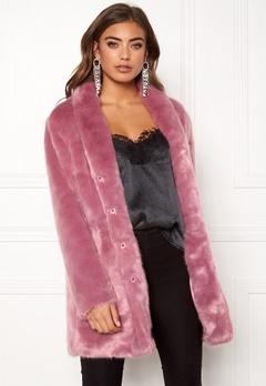 BUBBLEROOM Luxure faux fur coat Dusty pink Bubbleroom.dk