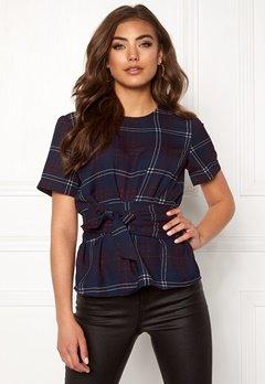 BUBBLEROOM Maddie tie blouse Navy / Checked Bubbleroom.dk