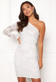 BUBBLEROOM Marianna lace one shoulder dress White Bubbleroom.dk