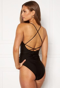 BUBBLEROOM Melia high thigh strap swimsuit Black Bubbleroom.dk