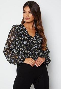 BUBBLEROOM Minty flounce blouse Black / Floral bubbleroom.dk