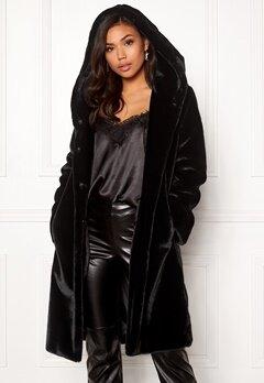 BUBBLEROOM Molly faux fur coat Black Bubbleroom.dk