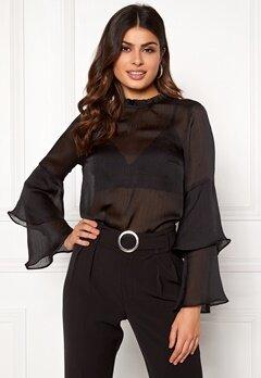 BUBBLEROOM Nadia flounce shirt Black Bubbleroom.dk