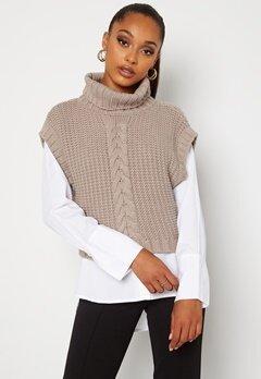BUBBLEROOM Nanja knitted vest Dark beige bubbleroom.dk
