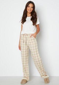 BUBBLEROOM Naya flannel pants Beige / White / Checked bubbleroom.dk