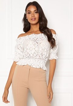 BUBBLEROOM Peaches off shoulder top White Bubbleroom.dk
