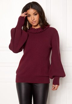 BUBBLEROOM Sally knitted sweater Wine-red Bubbleroom.dk