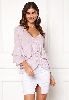 BUBBLEROOM Samantha dotted blouse Lavender / White / Dotted Bubbleroom.dk