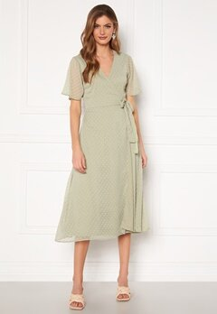 BUBBLEROOM Scarlette midi dotted dress Dusty green Bubbleroom.dk