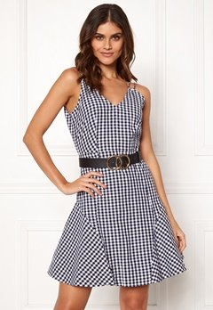 BUBBLEROOM Sienna flounce dress Black / White / Checked Bubbleroom.dk