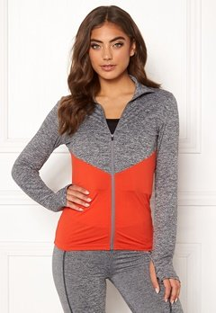 BUBBLEROOM SPORT Burpees then slurpees sport jacket Grey melange / Red Bubbleroom.dk