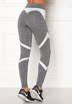 BUBBLEROOM SPORT Fierce Sport Tights Dark grey melange / White Bubbleroom.dk