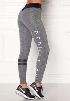BUBBLEROOM SPORT Move it sport tights Dark grey melange / Black / Text Bubbleroom.dk