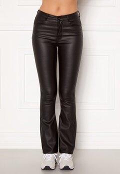 BUBBLEROOM Tove high waist coated flared jeans Black Bubbleroom.dk