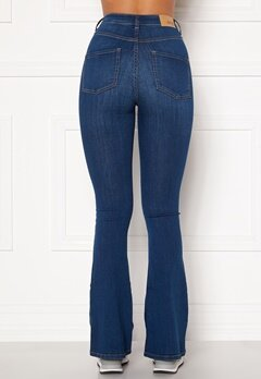 BUBBLEROOM Tove high waist flared superstretch Medium blue Bubbleroom.dk