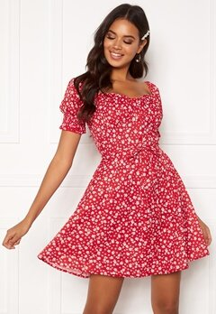 BUBBLEROOM Violie puff sleeve dress Red / White / Floral Bubbleroom.dk