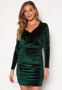 BUBBLEROOM Hillie sparkling velvet dress Green Bubbleroom.dk