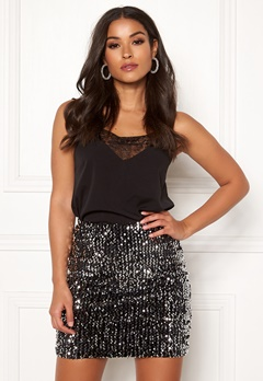 BUBBLEROOM Nera sequin skirt Black / Silver Bubbleroom.dk