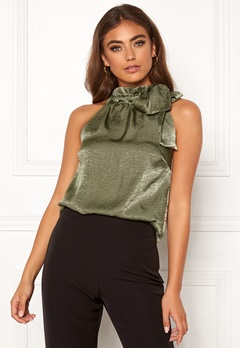 Moa Mattsson X Bubbleroom High neck tie top Green Bubbleroom.dk