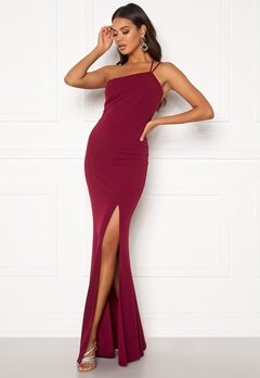 BUBBLEROOM Lilith one shoulder gown Wine-red Bubbleroom.dk