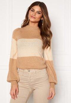 BUBBLEROOM Linette block knitted sweater Light beige bubbleroom.dk