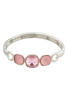BY JOLIMA Glam Bangle Bracelet Light Rose Silver Bubbleroom.dk