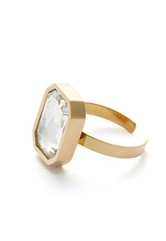 BY JOLIMA Sabina Square Ring Crystal Gold Bubbleroom.dk