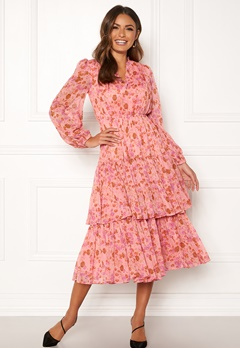 byTiMo Chiffon Layered Dress 876 Pink Garden Bubbleroom.dk