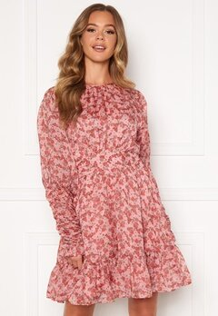 byTiMo Soft Organza Mini Dress 1104- Pink Flowers Bubbleroom.dk