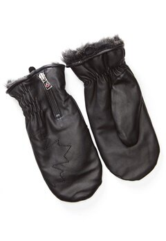 Canada Snow Kläppen Leather Mitts Black Bubbleroom.dk