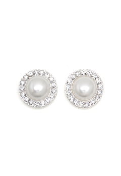 SNÖ of Sweden Carla Small Pearl Earring White Bubbleroom.dk