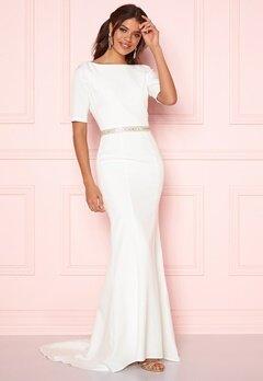 Chi Chi London Demi Diamonte Dress White Bubbleroom.dk