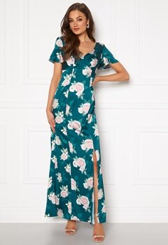 Chi Chi London Meadow Floral Maxi Dress Teal Bubbleroom.dk