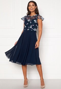 Chi Chi London Novah Midi Dress Navy Bubbleroom.dk