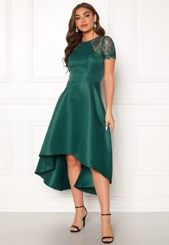 Chi Chi London Rachel High low Dress Emerald Bubbleroom.dk