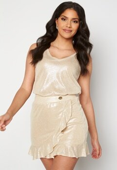 Chiara Forthi Abrienne glitter skirt Beige / Gold bubbleroom.dk