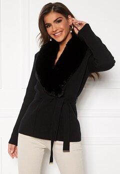 Chiara Forthi Arina heavy knit wrap jacket Black Bubbleroom.dk