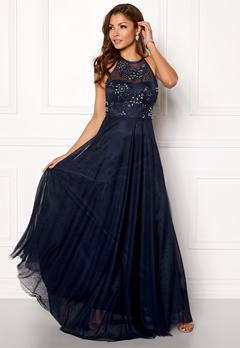 Chiara Forthi Briley Halterneck Gown Dark blue Bubbleroom.dk