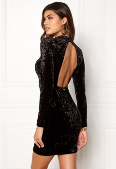 Chiara Forthi Brushed Velvet Dress Black Bubbleroom.dk