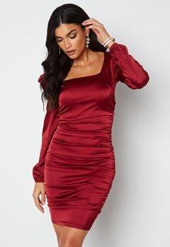 Chiara Forthi Cannelita Ruched Dress Dark red bubbleroom.dk
